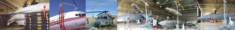 Images of AGE Logistics lifting and hoisting equipment for the aerospace industry.